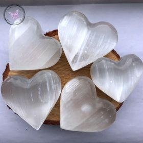 White Selenite Heart